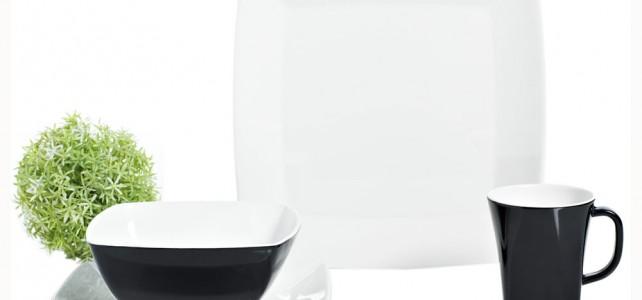 Gimex Melamin Campinggeschirr Set Quadrato Black and White