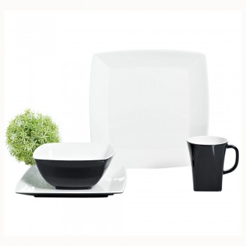 Gimex Melamin Campinggeschirr Set Quadrato Black and White