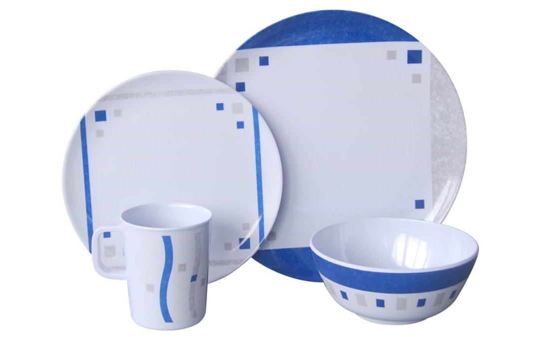 Melamin Campinggeschirr Set 16-teilig CUBIC-BLUE