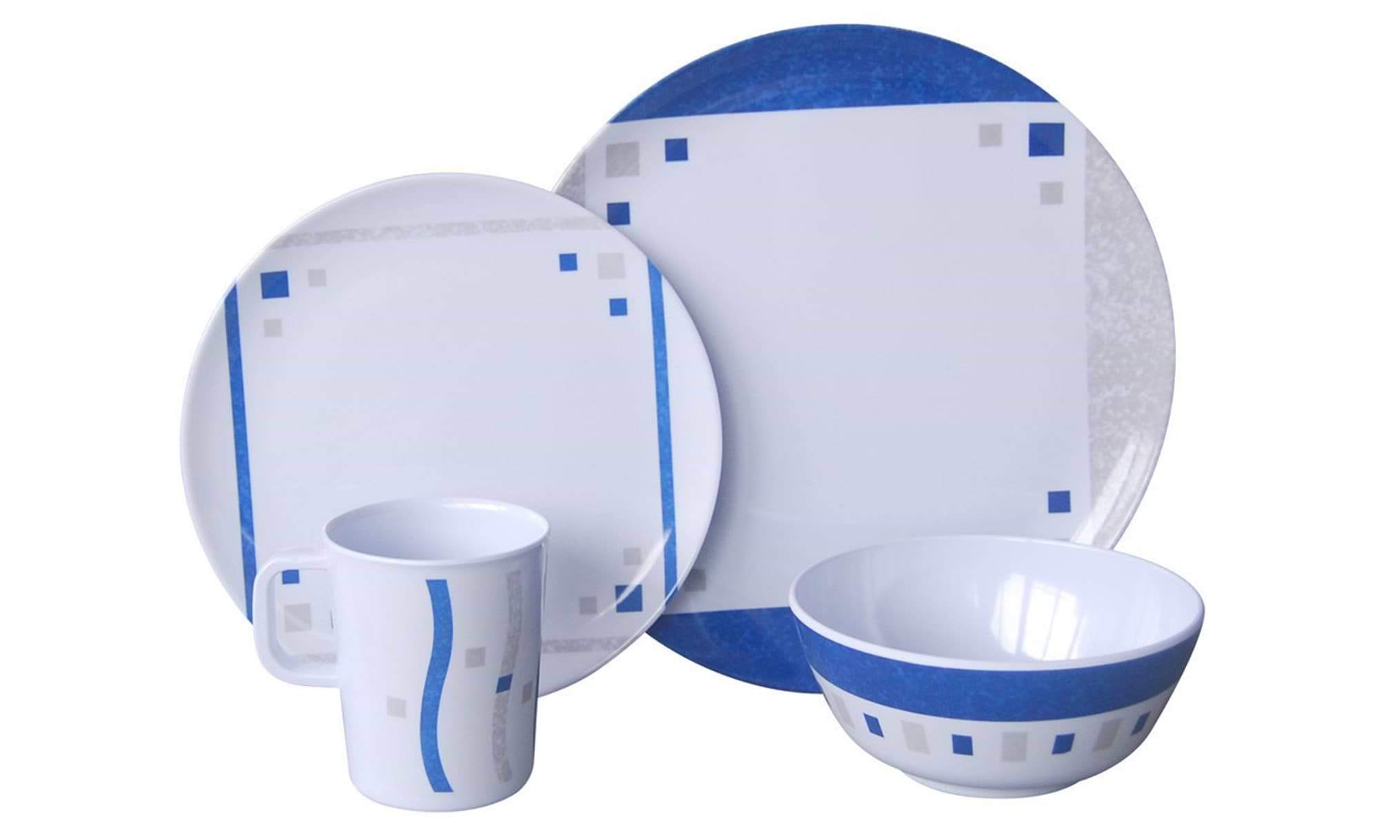 Melamin Campinggeschirr Set Cubic Blue