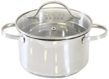 axentia Kochtopf Pado mit Deckel aus Glas, Küchen-Geschirr aus Edelstahl, Induktionstopf für alle Herdarten, Ø ca. 16 cm, Volumen: ca. 1,5 l - 1
