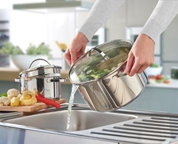 axentia Kochtopf Pado mit Deckel aus Glas, Küchen-Geschirr aus Edelstahl, Induktionstopf für alle Herdarten, Ø ca. 16 cm, Volumen: ca. 1,5 l - 5