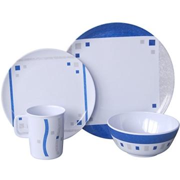 Camping Geschirr Melamin Cubic Blue