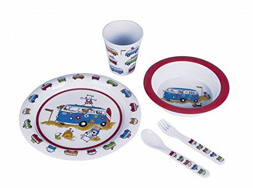 5 teilig Kindergeschirr mit Tiermotiv aus Melamin, bruch- und spülmaschinenfest Set Kindergeschirr Frühstücksset Kinderbesteck / Bus - 1