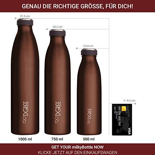 720°DGREE Edelstahl Trinkflasche milkyBottle- 500ml, 0,5 l - Isolierflasche Schmal - Thermosflasche Auslaufsicher - Perfekte Outdoor Thermoskanne für Kinder, Schule, Kindergarten, Mädchen, Jungen - 4