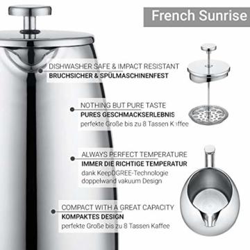 720°DGREE Premium French Press Kaffeebereiter Sunrise - 1Liter | Für den Höchsten Kaffeegenuss aus Edelstahl mit permanent Filter/Sieb | Elegante Kaffeekanne für 4 bis 8 Tassen heißen Kaffee - 2