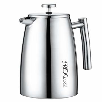 720°DGREE Premium French Press Kaffeebereiter Sunrise - 1Liter | Für den Höchsten Kaffeegenuss aus Edelstahl mit permanent Filter/Sieb | Elegante Kaffeekanne für 4 bis 8 Tassen heißen Kaffee - 1