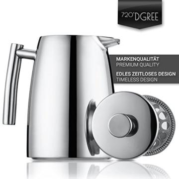 720°DGREE Premium French Press Kaffeebereiter Sunrise - 1Liter | Für den Höchsten Kaffeegenuss aus Edelstahl mit permanent Filter/Sieb | Elegante Kaffeekanne für 4 bis 8 Tassen heißen Kaffee - 5