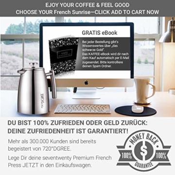 720°DGREE Premium French Press Kaffeebereiter Sunrise - 1Liter | Für den Höchsten Kaffeegenuss aus Edelstahl mit permanent Filter/Sieb | Elegante Kaffeekanne für 4 bis 8 Tassen heißen Kaffee - 7
