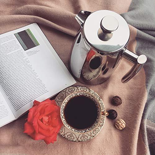 720°DGREE Premium French Press Kaffeebereiter Sunrise - 1Liter | Für den Höchsten Kaffeegenuss aus Edelstahl mit permanent Filter/Sieb | Elegante Kaffeekanne für 4 bis 8 Tassen heißen Kaffee - 8