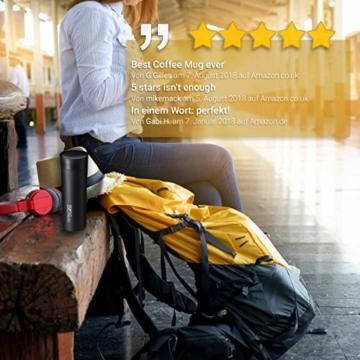 """720°DGREE Thermobecher Kaffee & Tee to Go """"PleasureToGo"""" - 450ml, Schwarz - DER Perfekte Kaffeebecher mit Deckel - Doppelwandig vakuumisolierter Isolierbecher Travel Mug für Heiße Getränke Überall - 5"""