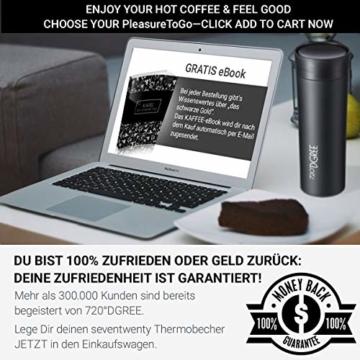 """720°DGREE Thermobecher Kaffee & Tee to Go """"PleasureToGo"""" - 450ml, Schwarz - DER Perfekte Kaffeebecher mit Deckel - Doppelwandig vakuumisolierter Isolierbecher Travel Mug für Heiße Getränke Überall - 7"""
