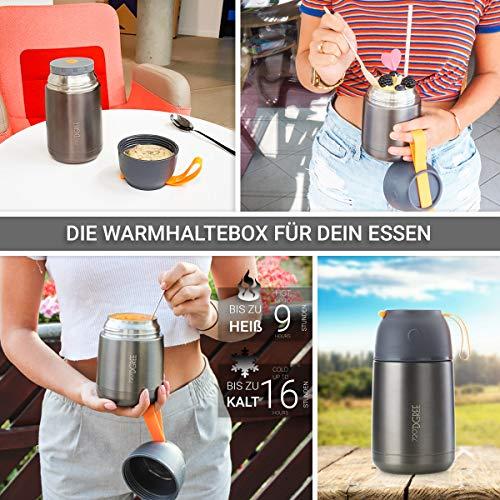 720°DGREE Thermobehälter Warmhaltebox WunderJar 650ml - Premium Isolierbehälter Box für Warme Speisen, Babynahrung, Essen, Suppe - Perfekter Edelstahl Isolier Behälter - 3