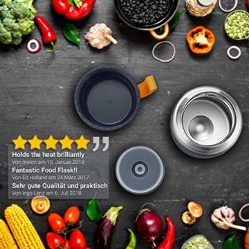 720°DGREE Thermobehälter Warmhaltebox WunderJar 650ml - Premium Isolierbehälter Box für Warme Speisen, Babynahrung, Essen, Suppe - Perfekter Edelstahl Isolier Behälter - 5