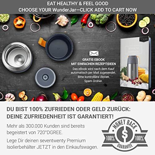 720°DGREE Thermobehälter Warmhaltebox WunderJar 650ml - Premium Isolierbehälter Box für Warme Speisen, Babynahrung, Essen, Suppe - Perfekter Edelstahl Isolier Behälter - 7