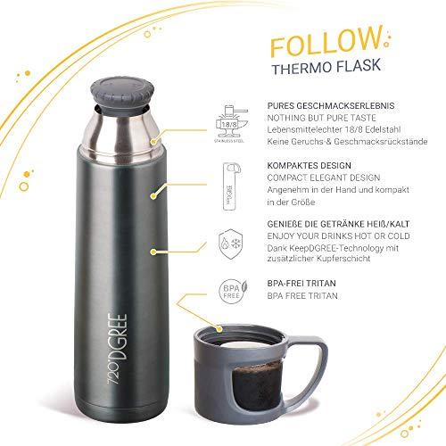 720°DGREE Thermoskanne Follow 700ml - Premium Thermosflasche - Edelstahl Isolierkanne mit Becher für Unterwegs - Neuartige Isolierflasche Perfekt fürs Kaffee & Tee - 2
