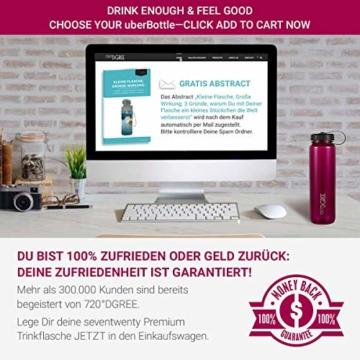720°DGREE Trinkflasche simplBottle - 1000ml, 1L, Pflaume/Rot - Wasserflasche aus Tritan - Auslaufsichere Flasche mit Weithals für Sport, Schule, Gym, Outdoor - Perfekte Sportflasche - BPA Frei - 6