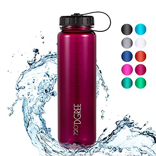 720°DGREE Trinkflasche simplBottle - 1000ml, 1L, Pflaume/Rot - Wasserflasche aus Tritan - Auslaufsichere Flasche mit Weithals für Sport, Schule, Gym, Outdoor - Perfekte Sportflasche - BPA Frei - 1