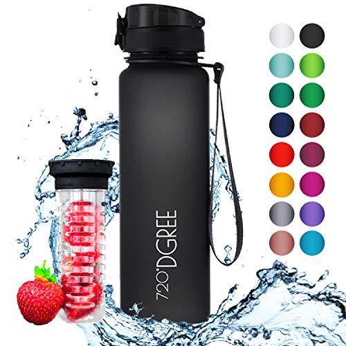"""720°DGREE Trinkflasche """"uberBottle"""" - 1 Liter, 1000ml, Schwarz   Neuartige Tritan Wasser-Flasche   Water Bottle BPA Frei   Ideale Sportflasche für Kinder, Fitness, Fahrrad, Sport, Fussball - 1"""
