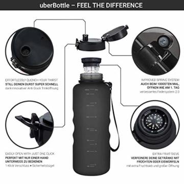 """720°DGREE Trinkflasche """"uberBottle"""" – 1,5 Liter, 1500ml, Schwarz - Neuartige Tritan Wasser-Flasche - Water Bottle BPA Frei - Ideale Sportflasche für Kinder, Fitness, Fahrrad, Sport, Fussball - 2"""
