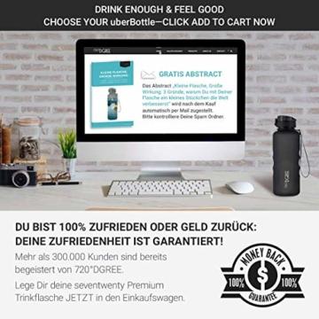 """720°DGREE Trinkflasche """"uberBottle"""" – 1,5 Liter, 1500ml, Schwarz - Neuartige Tritan Wasser-Flasche - Water Bottle BPA Frei - Ideale Sportflasche für Kinder, Fitness, Fahrrad, Sport, Fussball - 7"""