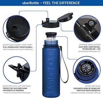 """720°DGREE Trinkflasche """"uberBottle"""" - 500 ml, 0,5 l, Blau - Neuartige Tritan Wasser-Flasche - Water Bottle BPA Frei - Ideale Sportflasche für Kinder, Fitness, Fahrrad, Sport, Fussball - 2"""