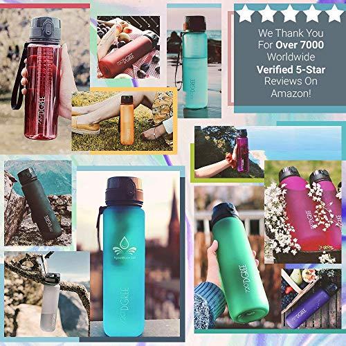 """720°DGREE Trinkflasche """"uberBottle"""" - 500 ml, 0,5 l, Blau - Neuartige Tritan Wasser-Flasche - Water Bottle BPA Frei - Ideale Sportflasche für Kinder, Fitness, Fahrrad, Sport, Fussball - 3"""