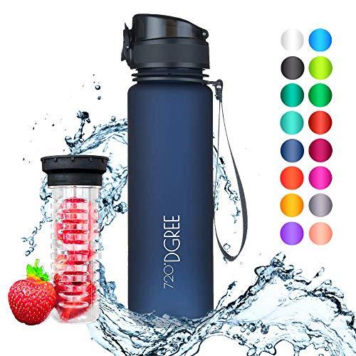 """720°DGREE Trinkflasche """"uberBottle"""" - 500 ml, 0,5 l, Blau - Neuartige Tritan Wasser-Flasche - Water Bottle BPA Frei - Ideale Sportflasche für Kinder, Fitness, Fahrrad, Sport, Fussball - 1"""