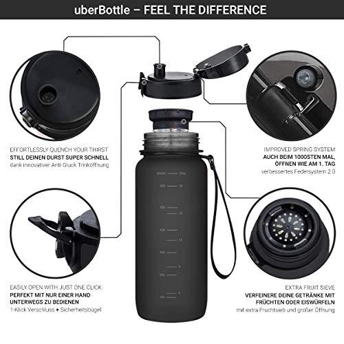 """720°DGREE Trinkflasche """"uberBottle"""" - 650 ml, 0,65 l, Schwarz - Neuartige Tritan Wasser-Flasche - Water Bottle BPA Frei - Ideale Sportflasche für Kinder, Fitness, Fahrrad, Sport, Fussball - 2"""