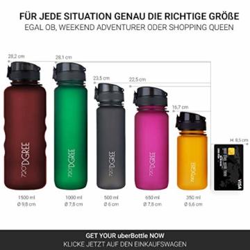 """720°DGREE Trinkflasche """"uberBottle"""" - 650 ml, 0,65 l, Schwarz - Neuartige Tritan Wasser-Flasche - Water Bottle BPA Frei - Ideale Sportflasche für Kinder, Fitness, Fahrrad, Sport, Fussball - 4"""