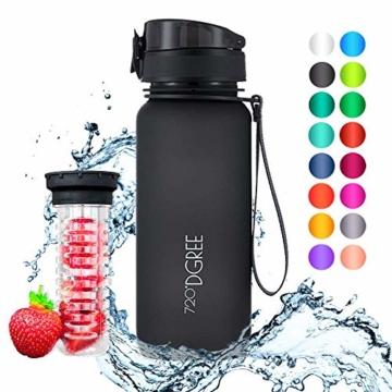 """720°DGREE Trinkflasche """"uberBottle"""" - 650 ml, 0,65 l, Schwarz - Neuartige Tritan Wasser-Flasche - Water Bottle BPA Frei - Ideale Sportflasche für Kinder, Fitness, Fahrrad, Sport, Fussball - 1"""
