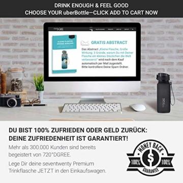 """720°DGREE Trinkflasche """"uberBottle"""" - 650 ml, 0,65 l, Schwarz - Neuartige Tritan Wasser-Flasche - Water Bottle BPA Frei - Ideale Sportflasche für Kinder, Fitness, Fahrrad, Sport, Fussball - 7"""