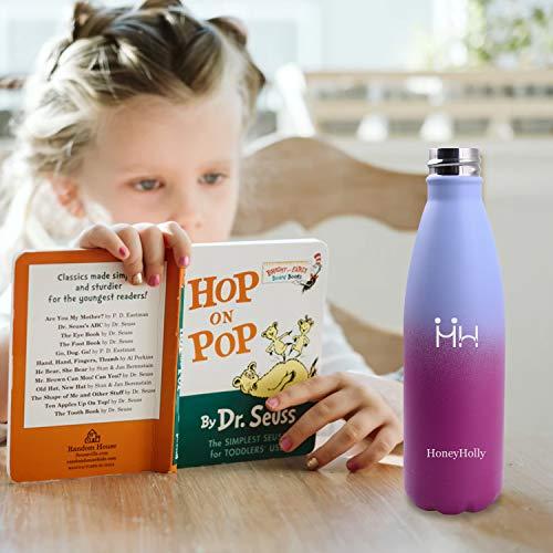 HoneyHolly Vakuum Isolierte Edelstahl Trinkflasche - 350/500/650/750 ml, Ideale Thermosflasche für Kinder, Kleinkinder, Schule, Kindergarten, Sport, Outdoor, Fahrrad, Fitness, Camping - 6