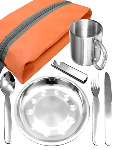 Outdoor Saxx® - Komplettes Outdoor Picknick-Set, Geschirr-Set, Edelstahl Teller, Camping BESTECK Messer Gabel Löffel, Edelstahl Tasse Becher, Tasche, 7-teilig - 1