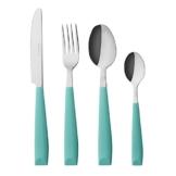 Exzact 16 PCS Besteck Set/Edelstahl-Besteck - Edelstahl mit Kunststoff-Handgriffen - Bequem zu halten - 4 x Gabeln, 4 x Dinner Messer, 4 x Dinner Esslöffel, 4 x Teelöffel (Türkis) .(WF232W x 16) - 1