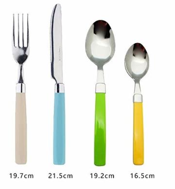 Exzact 24 Teiliges Besteck Set/Edelstahl-Besteck - Rostfreier Stahl mit farbigen Griffen - 6 x Gabeln, 6 x Messer, 6 x Esslöffel, 6 x Teelöffel (Mischfarbe) - 2