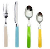 Exzact 24 Teiliges Besteck Set/Edelstahl-Besteck - Rostfreier Stahl mit farbigen Griffen - 6 x Gabeln, 6 x Messer, 6 x Esslöffel, 6 x Teelöffel (Mischfarbe) - 1