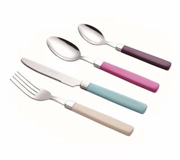 Exzact 24 Teiliges Besteck Set/Edelstahl-Besteck - Rostfreier Stahl mit farbigen Griffen - 6 x Gabeln, 6 x Messer, 6 x Esslöffel, 6 x Teelöffel (Mischfarbe) - 3
