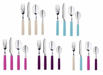 Exzact 24 Teiliges Besteck Set/Edelstahl-Besteck - Rostfreier Stahl mit farbigen Griffen - 6 x Gabeln, 6 x Messer, 6 x Esslöffel, 6 x Teelöffel (Mischfarbe) - 4