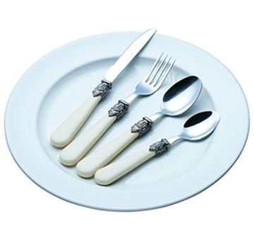 Exzact Elfenbein Creme Besteck Set 24 Stück, Edelstahl mit detaillierten Griff, traditionelle, Elegante, Vintage Stil/Antiquität (WF28-24CRM) - 2