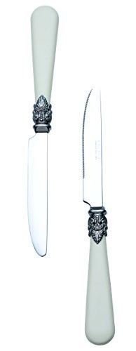 Exzact Elfenbein Creme Besteck Set 24 Stück, Edelstahl mit detaillierten Griff, traditionelle, Elegante, Vintage Stil/Antiquität (WF28-24CRM) - 4