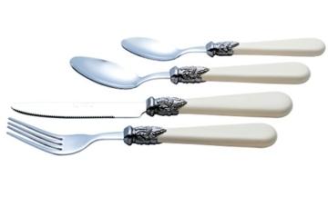 Exzact Elfenbein Creme Besteck Set 24 Stück, Edelstahl mit detaillierten Griff, traditionelle, Elegante, Vintage Stil/Antiquität (WF28-24CRM) - 5
