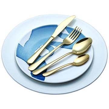 Exzact Premium 18/10 Edelstahl Besteck 16 PCS Set - 4 x Gabeln, 4 x Dinner Messer, 4 x Dinner Esslöffel, 4 x Teelöffel - Service für 4 (Golden/Gold Effekt) (WF944 x 16) - 5