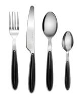 EXZACT Rostfrei Stahl Besteck Set einem Plastikhalter 24 PCS - Farbige Griffe - 6 Gabeln, 6 Messer, 6 Löffel, 6 Teelöffel - Schwarz (EX07 x 24) - 1