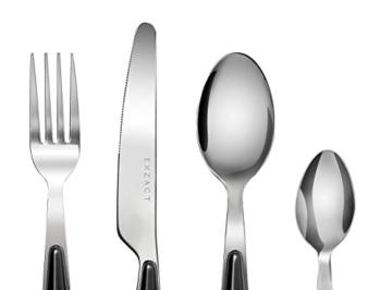 EXZACT Rostfrei Stahl Besteck Set einem Plastikhalter 24 PCS - Farbige Griffe - 6 Gabeln, 6 Messer, 6 Löffel, 6 Teelöffel - Schwarz (EX07 x 24) - 4