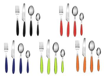 EXZACT Rostfrei Stahl Besteck Set einem Plastikhalter 24 PCS - Farbige Griffe - 6 Gabeln, 6 Messer, 6 Löffel, 6 Teelöffel - Schwarz (EX07 x 24) - 5