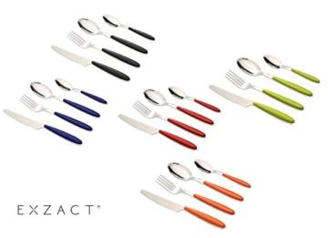 EXZACT Rostfrei Stahl Besteck Set einem Plastikhalter 24 PCS - Farbige Griffe - 6 Gabeln, 6 Messer, 6 Löffel, 6 Teelöffel - Schwarz (EX07 x 24) - 6