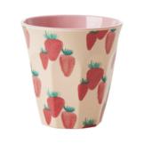 """rice Becher Melamin Trinkbecher """"Erdbeere"""", H9 cm"""